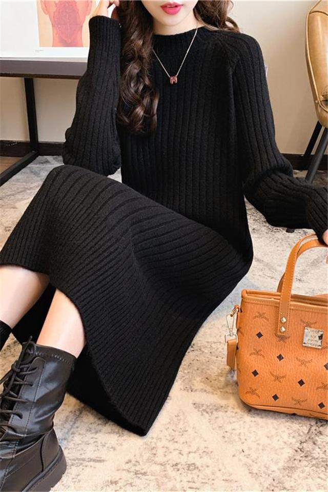 2020新款秋冬打底衫针织连衣裙圆领长款套头甜美小清新毛衣女学生