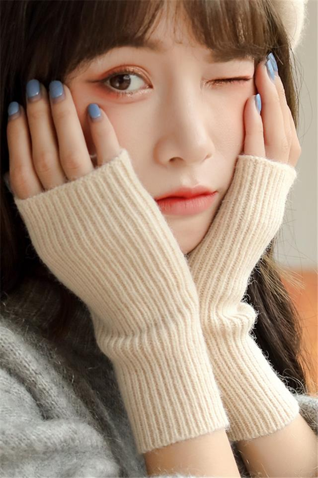 半指手套女冬天可爱女露指韩版冬季加厚保暖毛线半截学生写字袖套