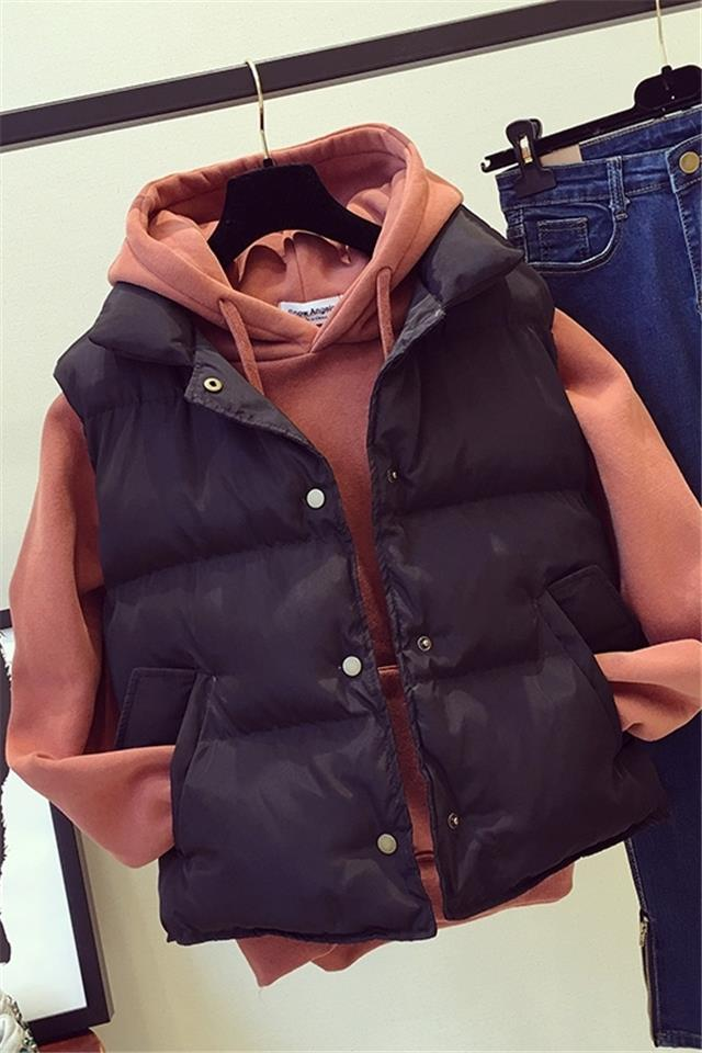 单件/套装马甲卫衣两件套女秋冬韩版短款学生加厚棉衣外套潮