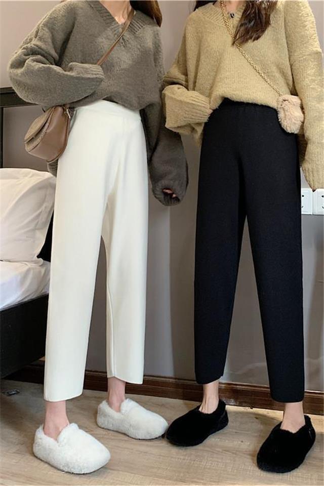 毛呢奶奶裤女2020秋冬季新款韩版高腰垂感直筒裤学生宽松休闲裤子
