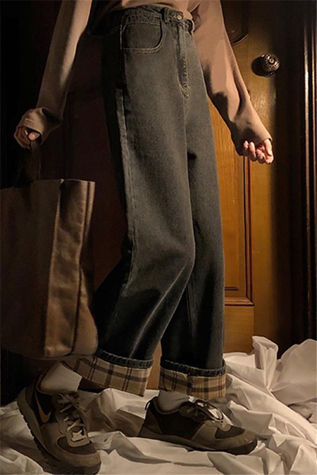 秋冬复古大码胖mm加绒加厚牛仔裤女学生宽松显瘦卷边阔腿长裤
