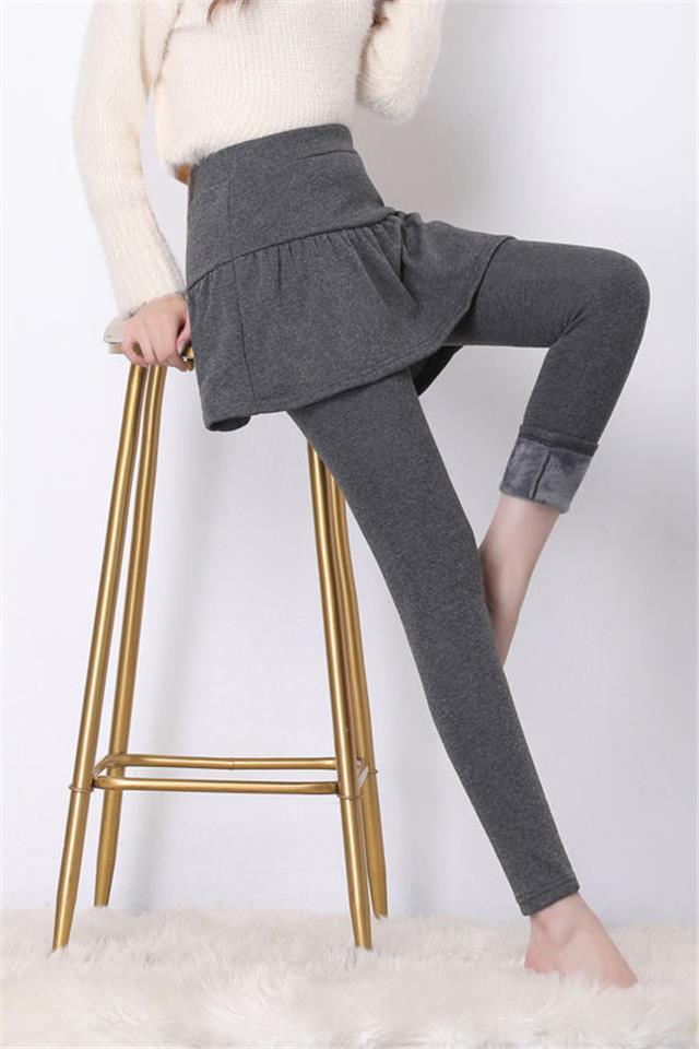 带裙子的打底裤女假两件外穿高弹秋冬加绒大码高腰学生紧身裙裤厚