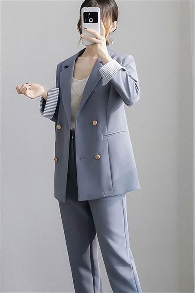 大码女装2020秋冬新款胖mm200斤西装套装胖妹妹显瘦西服西裤两件