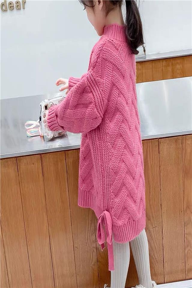 女童洋气红色新年毛衣裙中长款加绒加厚连衣裙新款冬装打底外穿潮