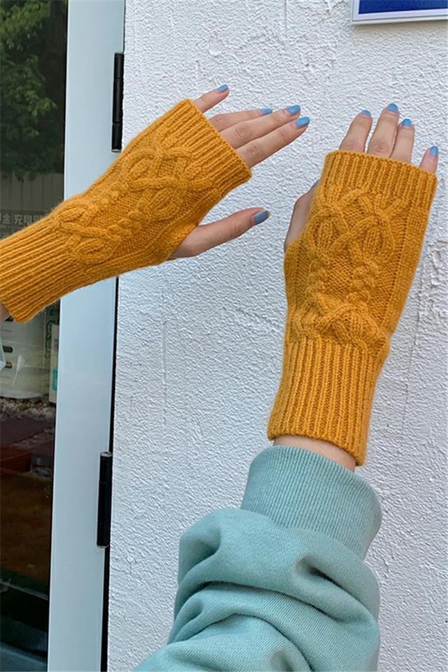 秋冬针织毛线半指手套骑行女保暖手套薄款半截露指学生手套冬天男