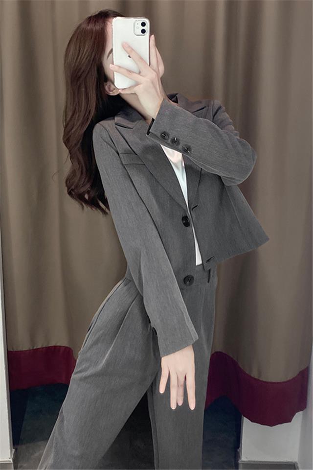 早春小西装套装女韩版装新款英伦风西服外套洋气高腰西裤两件套