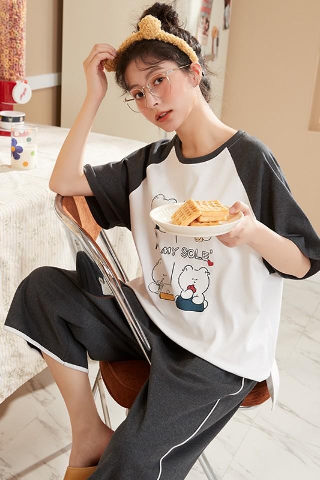 新款夏季纯棉短袖睡衣女士韩版可外穿卡通可爱七分裤过膝家居服