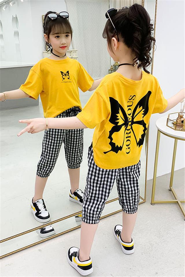 纯棉T恤女童套装网红夏装2020新款洋气韩版女孩夏季中大童七分裤