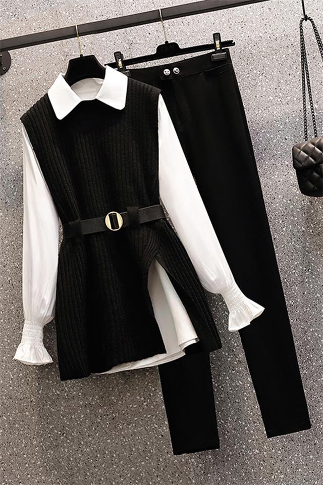 大码女装胖妹妹春季2021新款时尚遮肉减龄马甲衬衫休闲裤三件套装