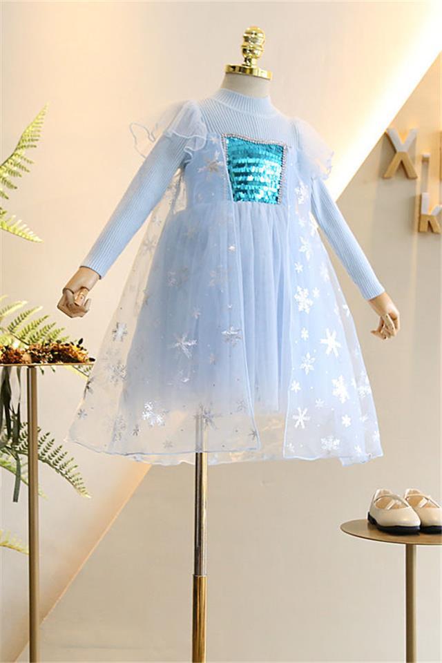 女童冰雪奇缘爱莎公主裙春秋儿童艾莎长袖连衣裙小女孩蓬蓬纱裙子