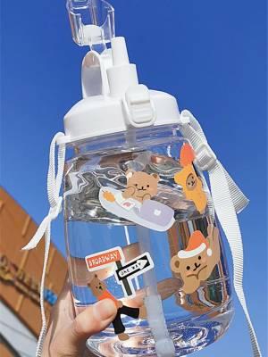 【艳姐cdyy】超大容量水杯女可爱1000ml带吸管式透明塑料杯便携水壶瓶