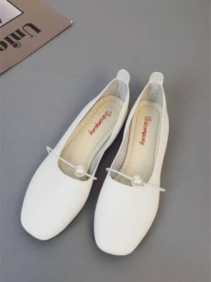 【崔小姐008】2021春夏新款韩版浅口单鞋女舒适方头小白鞋平底鞋百搭女鞋四季鞋