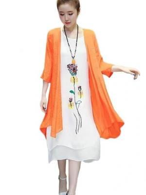 【淡抹悲伤5201314】新款流行春夏季中长款两件套棉麻连衣裙亚麻民族风格女装长裙