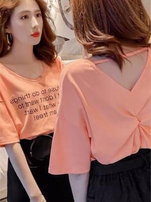 【艳姐cdyy】小心机t恤女短袖韩版学生宽松新款小众设计感V领露背上衣服潮