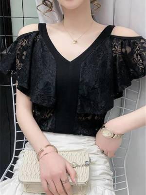 【艳姐cdyy】蕾丝短袖t恤女夏季新款时尚百搭V领镂空洋气修身打底露肩上衣