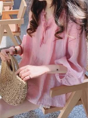 【sunny洁ya】好质量很仙的娃娃衫上衣夏季韩版宽松甜美系带木耳边灯笼七分袖
