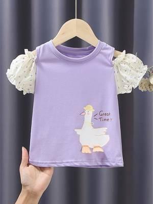 【小曦曦_吖】直播女童年新款短袖夏装棉t恤洋气波点泡泡袖甜美半袖小中童短袖