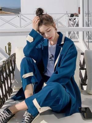 【艳姐cdyy】西装两件套女英伦风春秋新款休闲时尚长裤套装韩版小西服潮5天