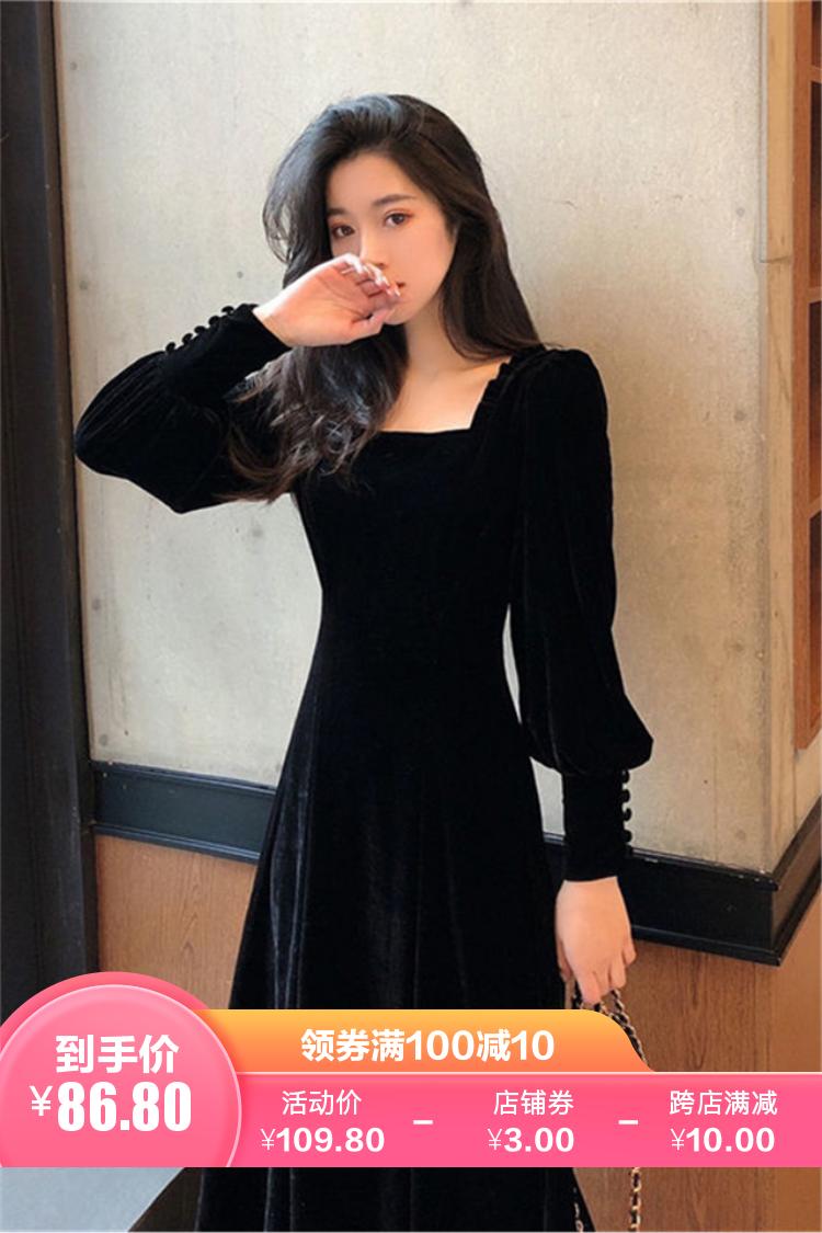 小莫甘娜春季新款韩版时尚女装宽松修身显瘦洋气轻奢名媛连衣裙