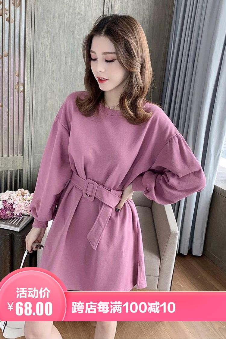 2021初春季新款韩版灯笼袖系带卫衣裙小个子显瘦连衣裙女宽松