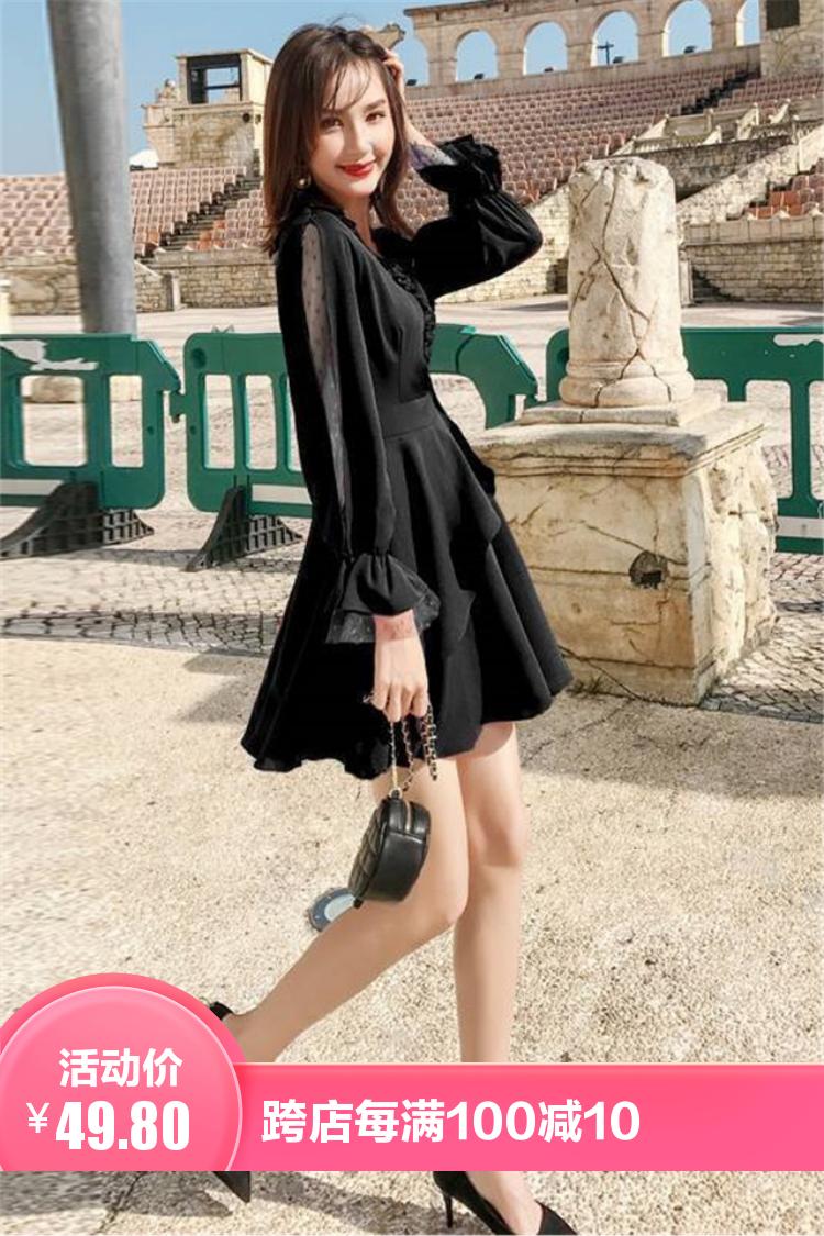 小莫甘娜春季新款韩版时尚女装宽松洋气百搭气质修身显瘦连衣裙