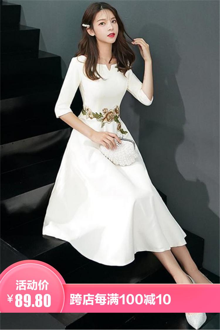 小莫甘娜春季新款韩版时尚女装宽松洋气百搭修身显瘦刺绣连衣裙