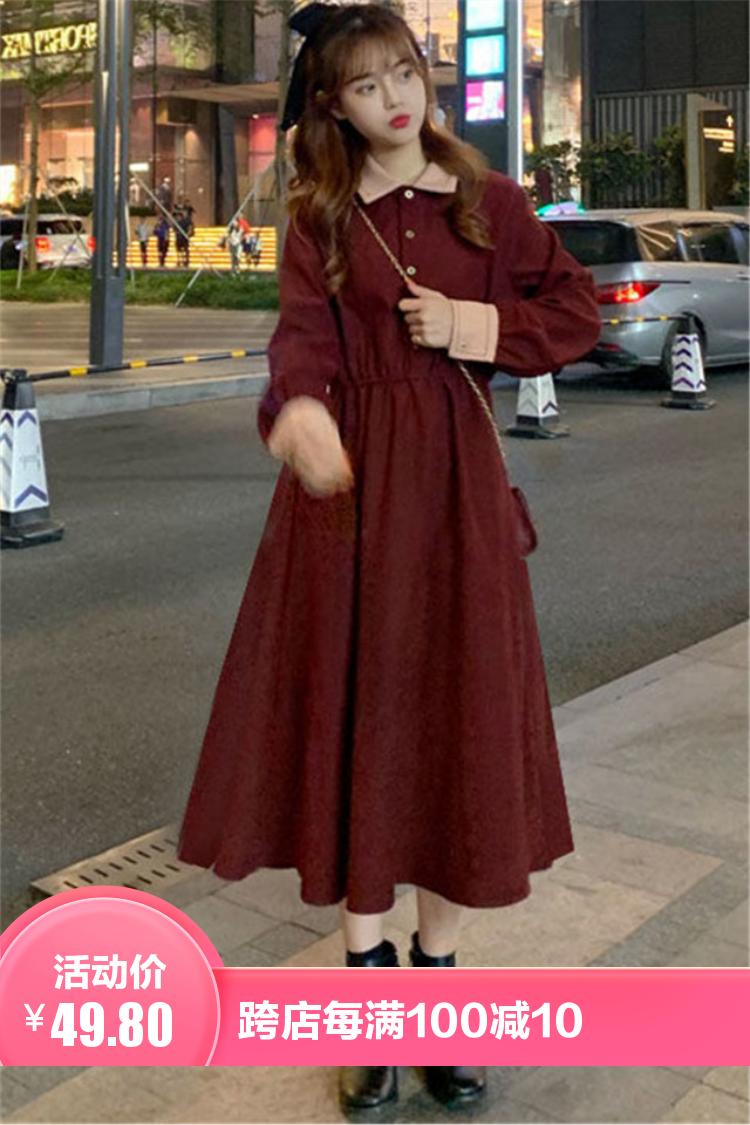 小莫甘娜春季新款韩版时尚女装甜美复古蝴蝶结修身显瘦百搭连衣裙