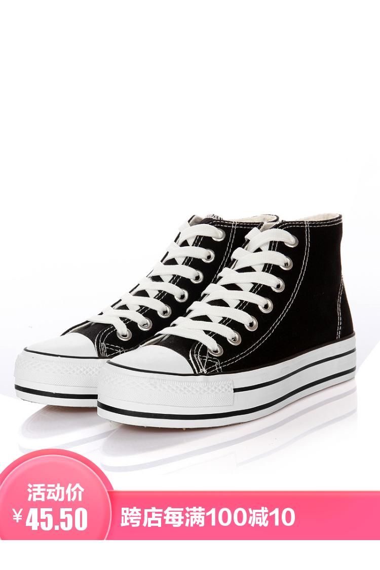 韩版百搭厚底内增高松糕鞋高帮帆布鞋女学生夏季透气休闲鞋子女鞋