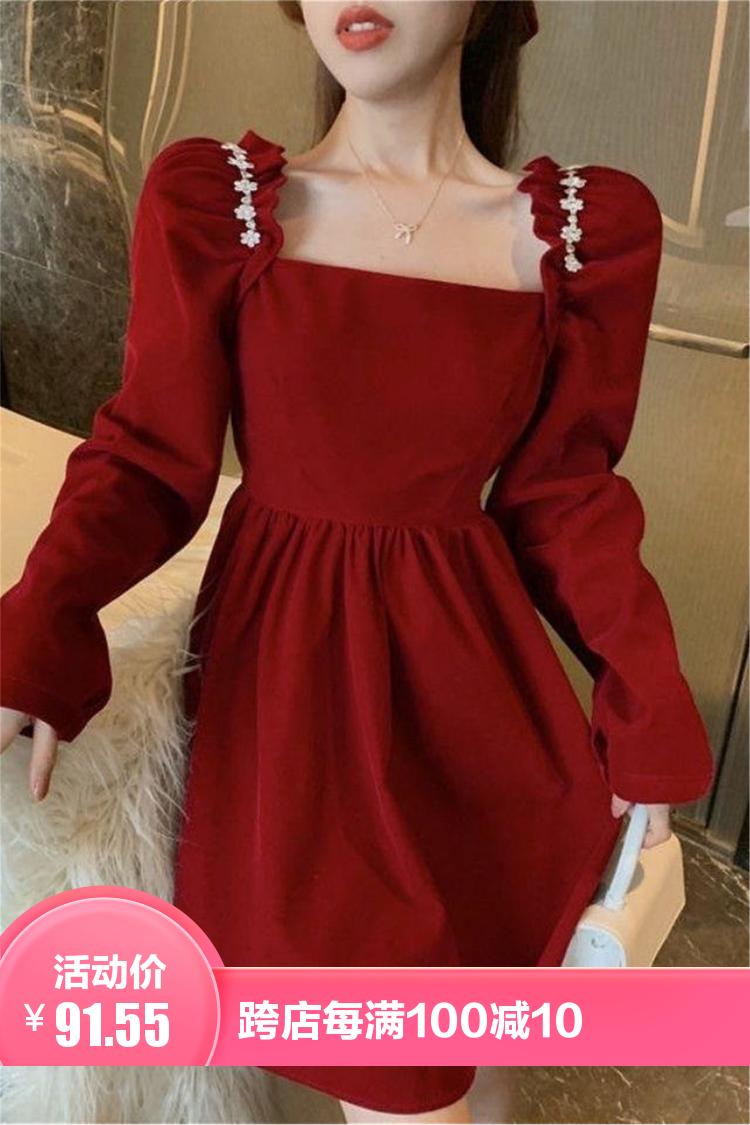 新款韩版气质长袖方领丝绒连衣裙女收腰显瘦纯色镶钻短款裙子