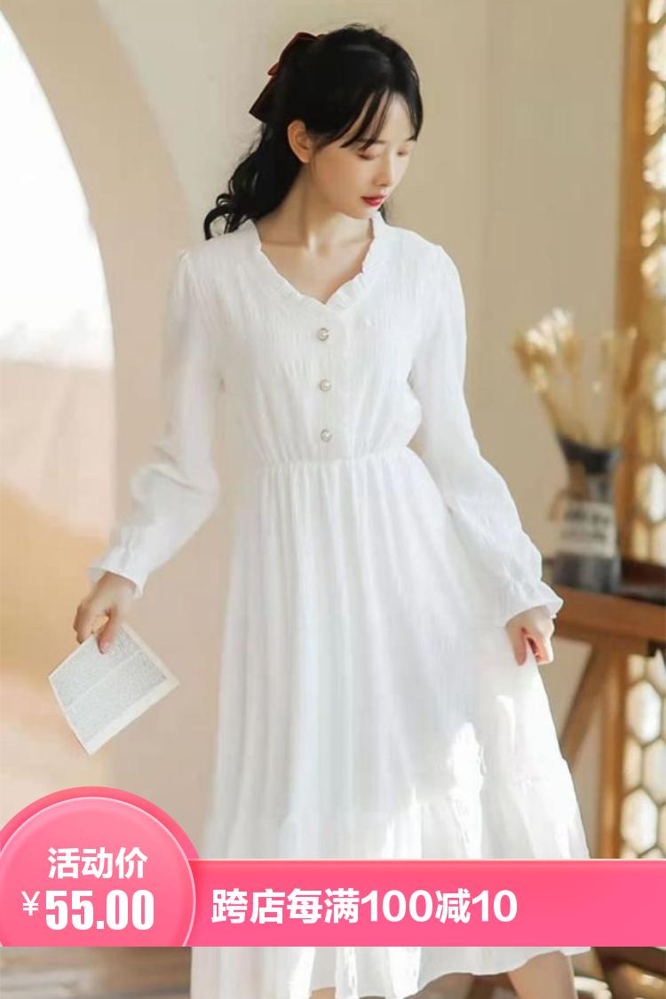 白色连衣裙女收腰百搭气质新款法式初恋桔梗赫本风仙女裙超仙