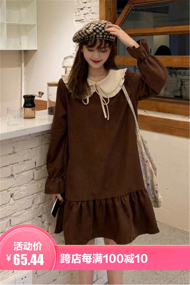 新款韩版学院风超仙娃娃领长袖连衣裙女学生春季复古宽松a字裙子