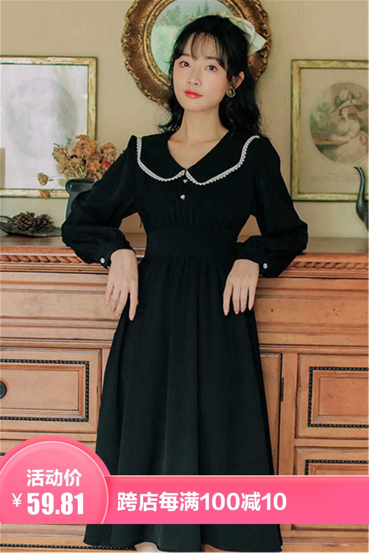 2021新款法式复古轻熟风小黑裙连衣裙赫本风收腰显瘦气质长裙