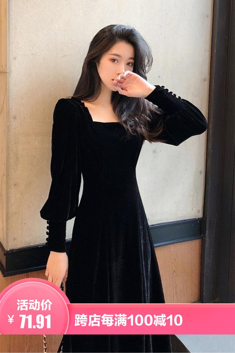 春秋季赫本小黑裙法式复古收腰中长款方领金丝绒洋气甜美连衣裙