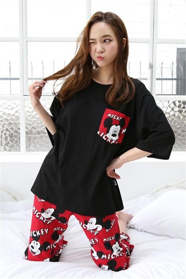 睡衣女夏短袖韩版可爱甜美卡通清新套装夏装两件套家居服夏季