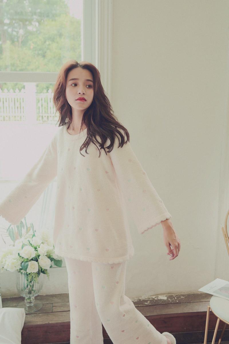 日系甜美爱心睡衣女韩国冬季可爱七分袖显瘦软绵绵加厚家居服套装