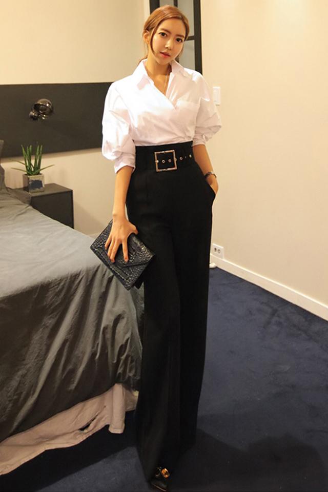 春秋季新款职业套装西装裤高腰阔腿裤OL气质两件套女装时尚