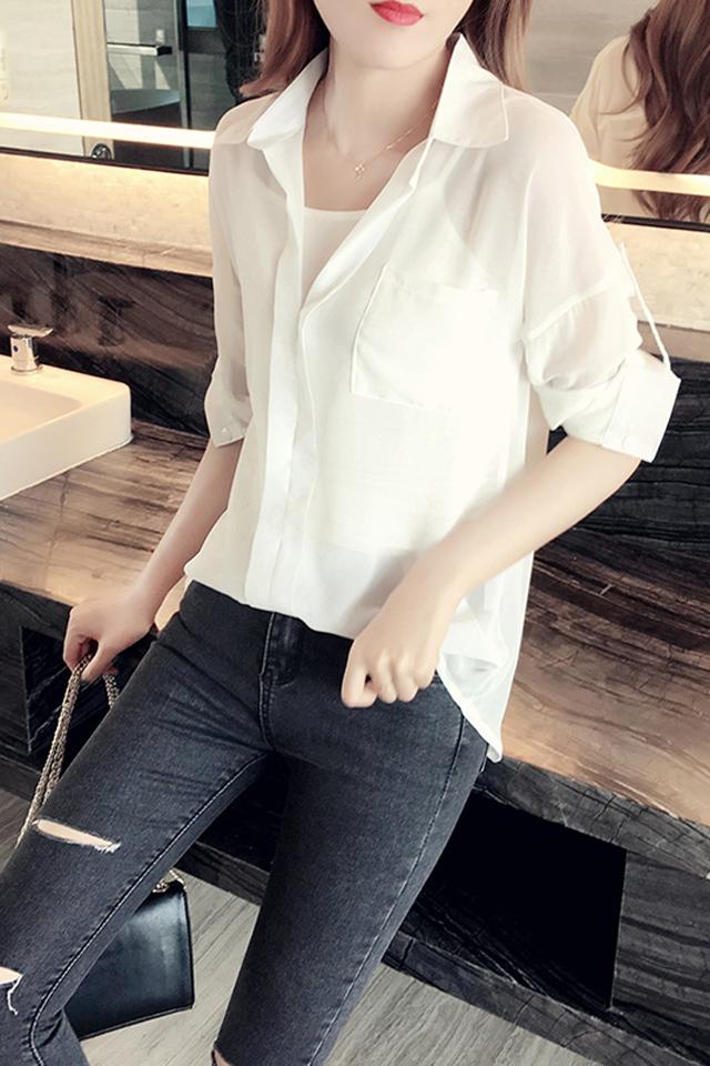雪纺衫女2020春秋装新款韩版大码胖mm宽松显瘦衬衫设计感