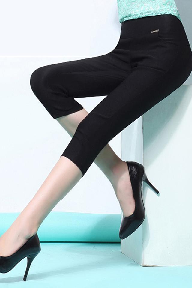 外穿高腰七分打底裤女春夏季薄款弹力7分裤大码紧身小脚裤宝妈装