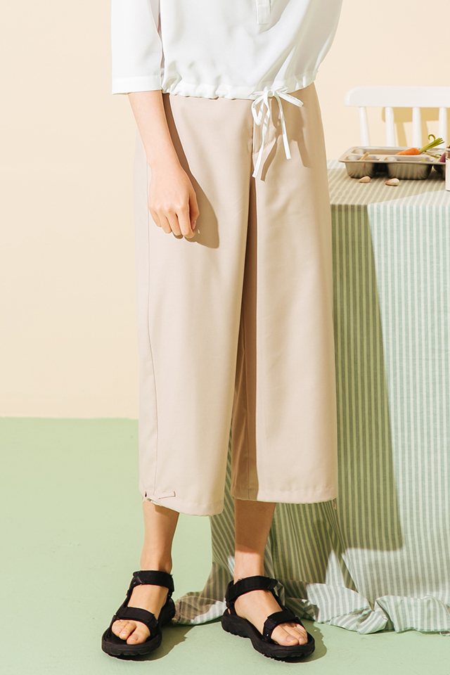 【OMONT】复古休闲宽松高腰显瘦直筒阔腿裤收口七分裤夏季