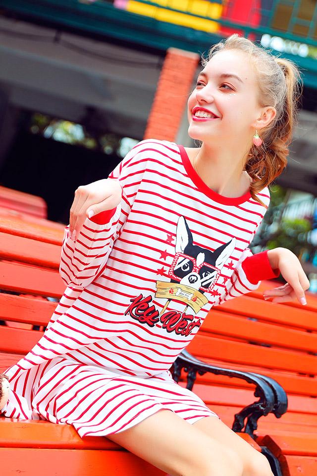 库恩玛维新款春夏条纹裙衣服超仙学院风学生连衣裙t恤裙