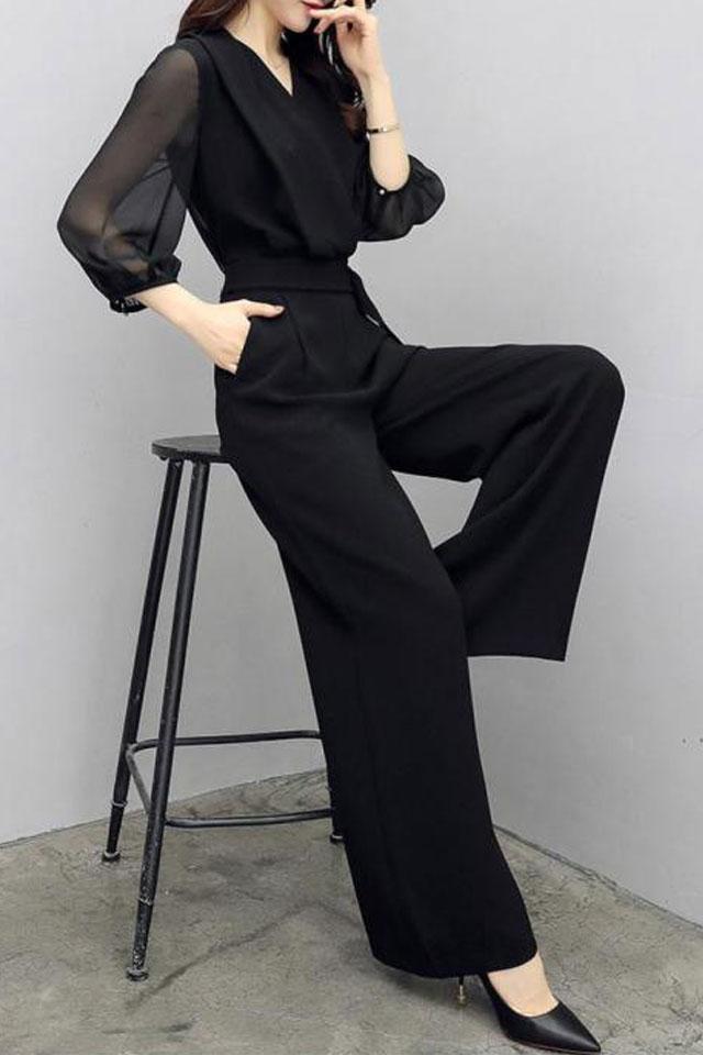 春秋新款高腰雪纺连衣裤黑色七分袖修身显瘦气质阔腿连体裤套装女
