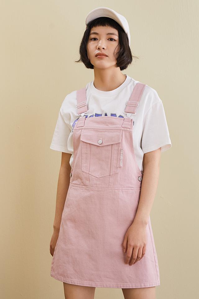 【OMONT】复古简洁宽松A型纯棉背带裙学生百搭刺绣裙夏季