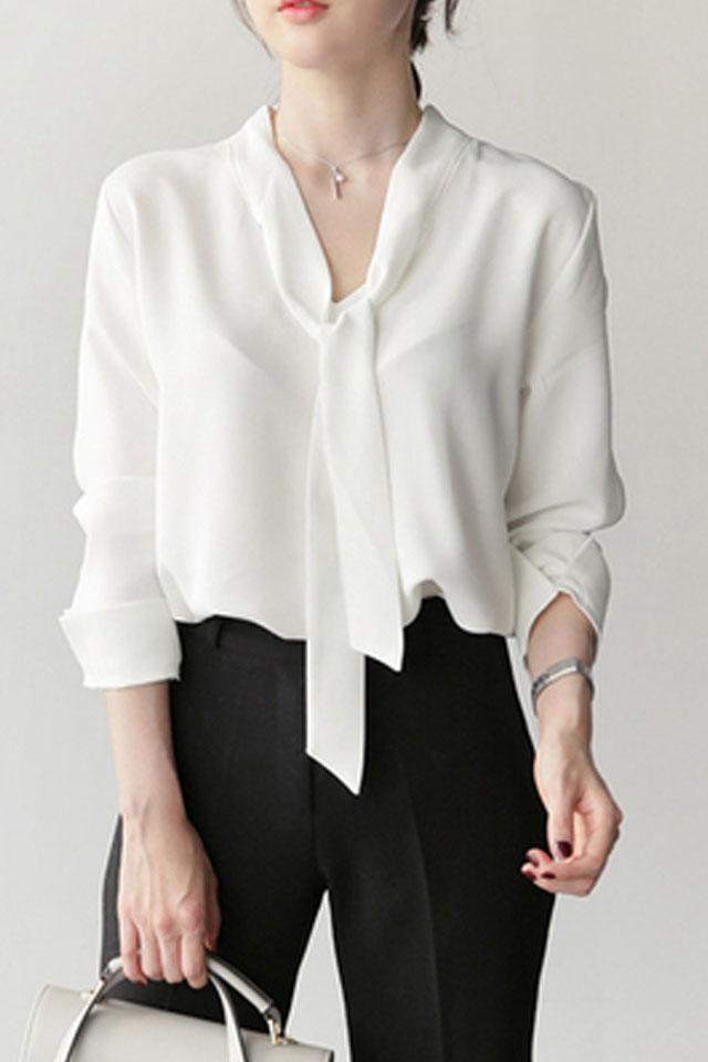 金秘书为何职业装正装通勤气质长袖v领蝴蝶结飘带白色雪纺衬衫女