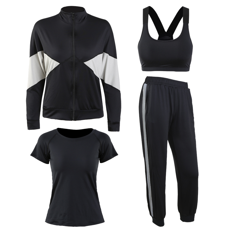 黑色(外套+黑短袖+文胸+长裤)四件套