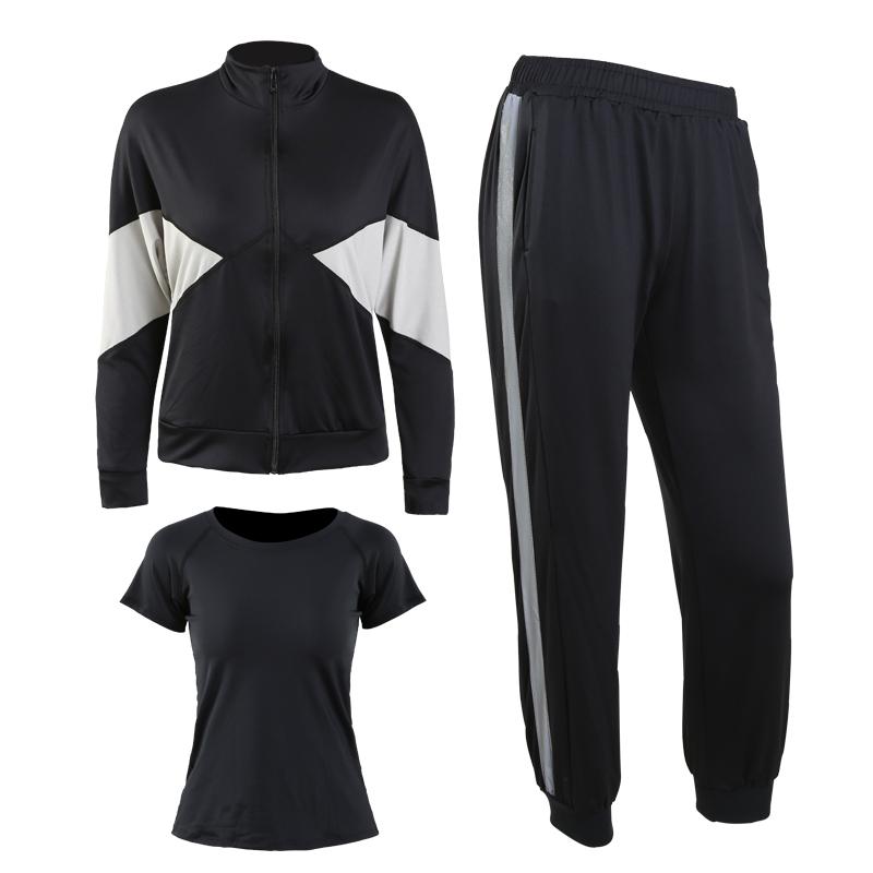 黑色(外套+黑短袖+长裤)三件套