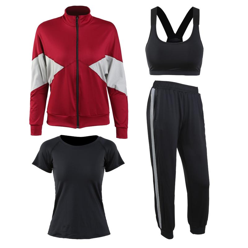 红色(外套+黑短袖+文胸+长裤)四件套