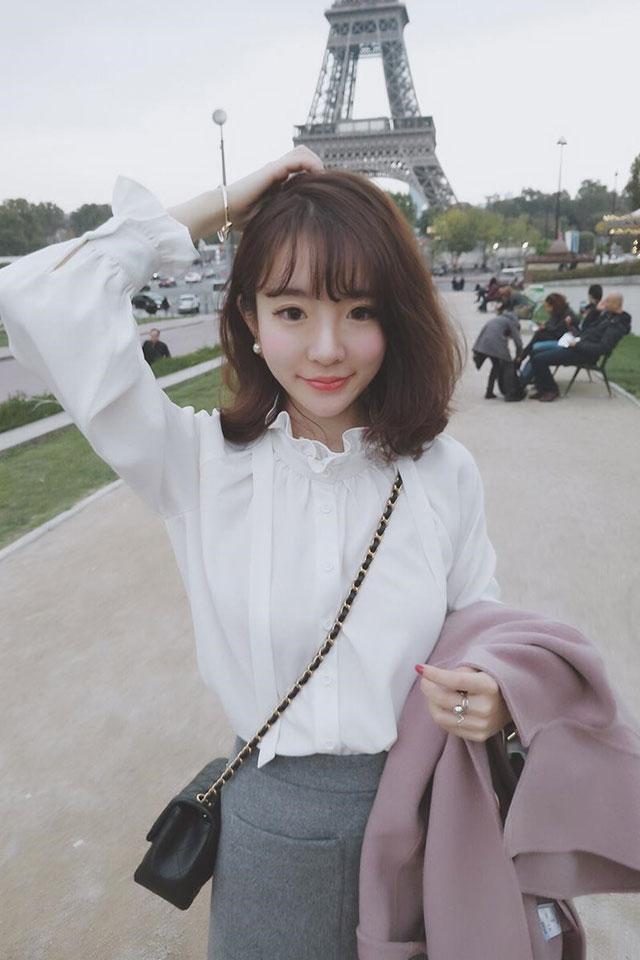春季韩版雪纺衫打底衫女白色立领洋气花边衬衫小心机春款仙女上衣