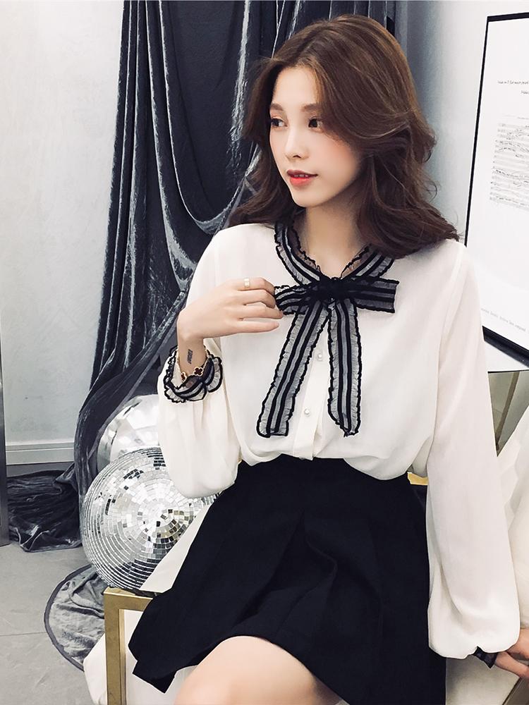 甜美蕾丝蝴蝶结撞色经典灯笼袖复古减龄女神单排扣雪纺衬衫