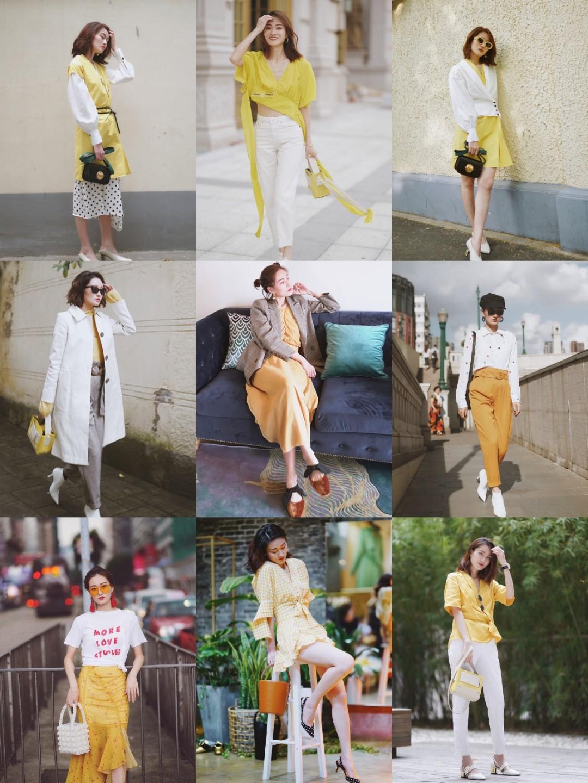 穿搭|尽量按照颜色拼的图~ 🌟发现好多浅色都跟白色可以搭起来~都很好看~ 🌟这一趴是亮堂的白+黄,温柔的白+粉,清新的白+雾霾蓝 #我的年度穿搭九宫格总结#