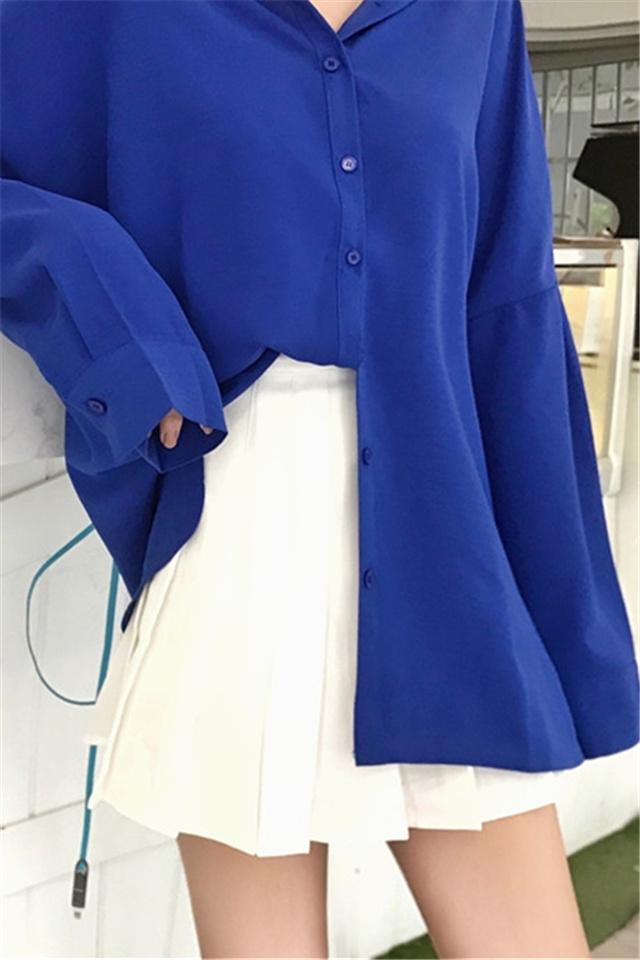时尚套装裙韩版百搭蝙蝠袖宽松翻领排扣长袖纯色中长款衬衫女+学院风白色百褶裙半身裙